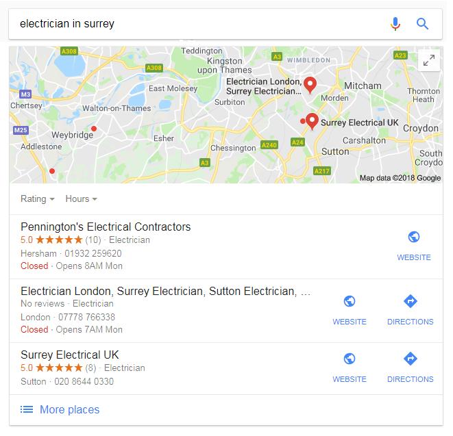 SEO Surrey electrician